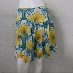 {Cache} Blue and Yellow Floral Flare Skirt Size 2